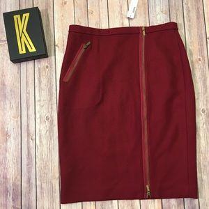 J CREW Wool Red Zipper Skirt Size 8 NEW!